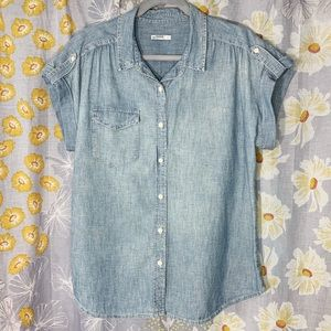 Gap 1969 Short Sleeve Chambray Button Down Shirt L
